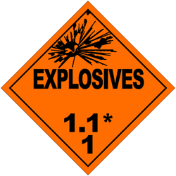 Division 1.1: Substances and articles which have a mass explosion hazard
