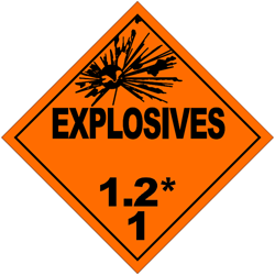 Division 1.2: Substances and articles which have a projection hazard but not a mass explosion hazard