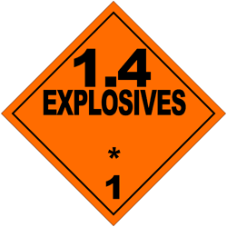 Division 1.4: Substances and articles which present no significant hazard; only a small hazard in the event of ignition or initiation during transport with any effects largely confined to the package